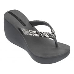 Ipanema Lipstick Grey Silver Wedge Toe Post Sandals
