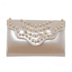 Kate Appleby Ladies Blacley Patent Clutch Bag - Nude Gold Pearl