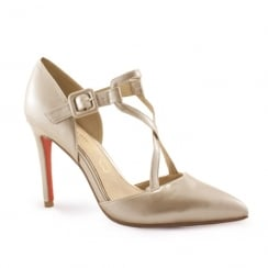 Kate Appleby Enfield Pointed Toe Cross Over Strap High Heels - Pearl Nude