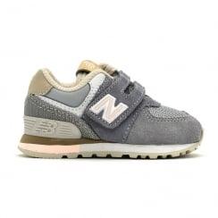 New Balance Kids 574 Core Velcro Grey/Pink Shoes