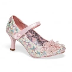 Joe Browns Mary Jane Sequin Katherina Pastel Pink Court Shoe