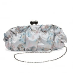 Joe Browns Isabella Floral Pattern Blue/Pink Satin Clutch Bag