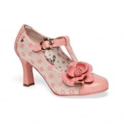 Joe Browns Cecilia Flower Pattern Peach Metallic Court Shoe