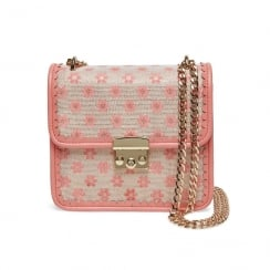 Joe Browns Cecilia Flower Pattern Peach Metallic Boxy Bag