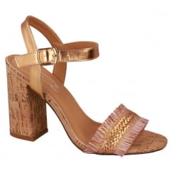 Spot On Rose Gold Block Heel Sandal