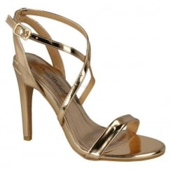 Anne Michelle Cross Strap Sandal - Gold