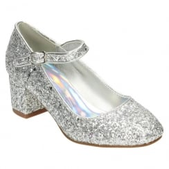Spot On Girls Glitter Party Shoe - Silver