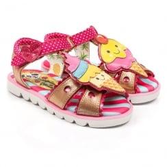 Irregular Choice Girls Cherry On Top Gold/Pink Kids Sandals 4397-07a