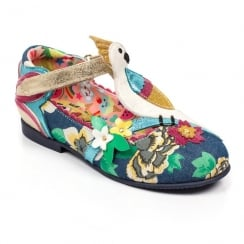 Irregular Choice Girls Cockatoo Floral Kidds T-Bar Velcro Shoes 4395-08b