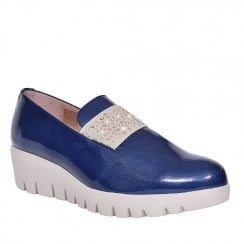 Wonders Navy Patent Slip On Shoe
