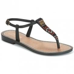 Grendha Womens Tribal Black T-Strap Toe Post Sandals