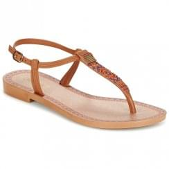 Grendha Womens Tribal Tan T-Strap Toe Post Sandals