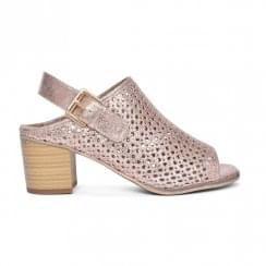 Redz Rose Metallic Peep Toe Heeled Sandals