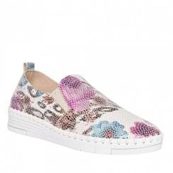 Zanni & Co Ladies Lore Floral Flat Slip On Shoe - White/Multi