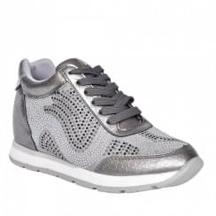 Zanni & Co Roslyn Pewter Wedge Heeled Lace Up Trainer