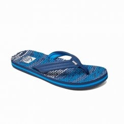 Reef Kids Infant Junior Ahi Horizon Waves Flip Flops Sandals - Blue