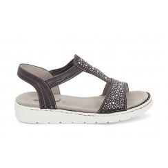 Jenny Ara Grey Wide Fitting Flat Sandals