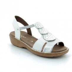 Jenny Ara White Wide Fit Sandal With Disc Detail 57287-73