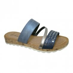 Fabs Ladies Antonio Dolfi Jenny Blue Metallic Flat Slip On Mule Sandals