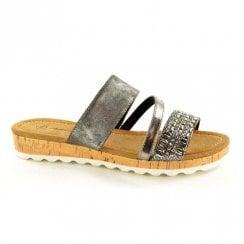 Fabs Ladies Antonio Dolfi Jenny Grey Metallic Flat Slip On Mule Sandals