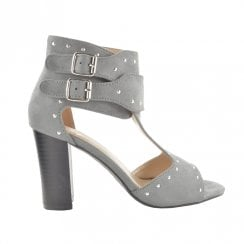 Fabs Ladies Studded Block Heel Ankle Straps Sandal - Grey