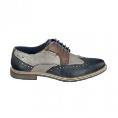 Bugatti Mens Blue/Grey Lace Up Brogue Shoes 312-25904
