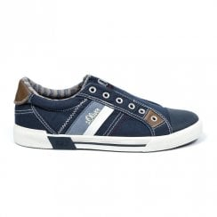 S.Oliver Mens Laced Canvas Casual Sneaker Shoes - Navy