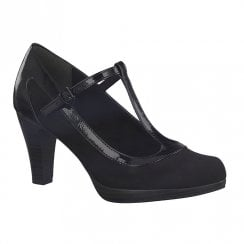 Marco Tozzi Womens T-Bar Heels - Black