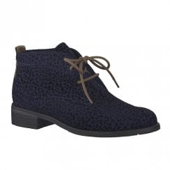 Marco Tozzi Womens Flat Lace Up Ankle Boots - Navy
