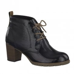 Marco Tozzi Womens Heeled Lace Up Ankle Boots - Black
