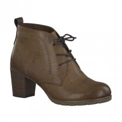 Marco Tozzi Womens Heeled Lace Up Ankle Boots - Cognac