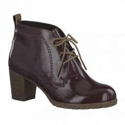 Marco Tozzi Womens Heeled Lace Up Ankle Boots - Merlot