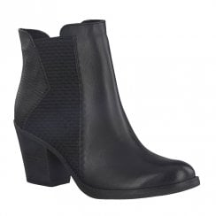 Marco Tozzi Womens Heeled Slip On Ankle Boots - Black