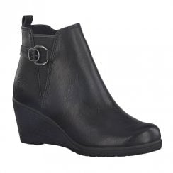 Marco Tozzi Womens Wedge Heeled Ankle Boots - Black