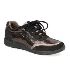 Caprice Gunmetal Leather Casual Lace Up Sneakers Shoe