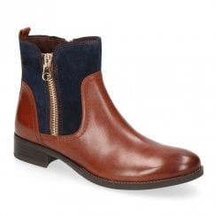 Caprice Cognac Brown Leather Casual Flat Ankle Boots
