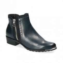 Caprice Womens Blue Flat Ankle Boots