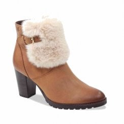 Caprice Womens Camel Nubuck Heeled Ankle Boots