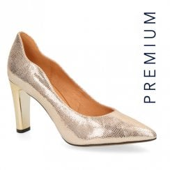 Caprice Gold Premium Leather Court Heels