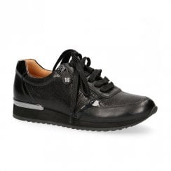 Caprice Black Leather Casual Lace Up Sneakers Shoe