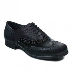 Term Bella Black Patent/Leather Girls Brogue School Shoes