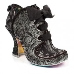 Irregular Choice Baroness High Heel Ribbon Laces Ankle Boots - Silver Leather