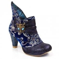 Irregular Choice Miaow High Heeled Ankle Boot - Blue Metallic