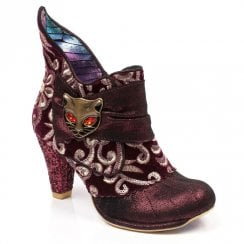 Irregular Choice Miaow High Heeled Ankle Boot - Burgundy