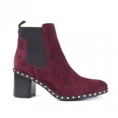 Alpe High Heeled Chelsea Suede Ankle Boot - Bordo