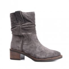 Alpe Chunky Heel Mid Calf Suede Boot - Grey