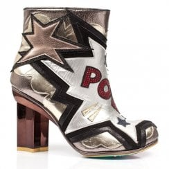 Irregular Bang Pow High Heeled Ankle Boots - Silver