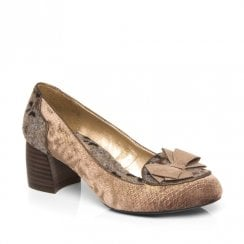Ruby Shoo Thalia Dusted Velvet Low Court Shoes - Mink Beige