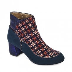 Ruby Shoo Karolina Tweed Ankle Low Heel Boots - Navy