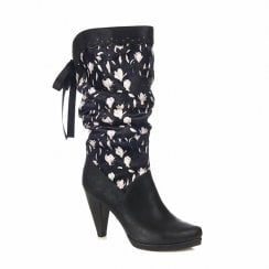 Ruby Shoo Athena High Heeled Floral Long Calf Boots - Black